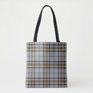 Grey Black Tartan Plaid Tote Bag
