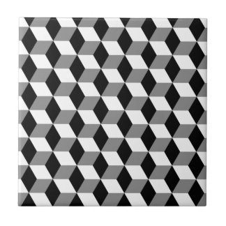 Grey, Black & White 3D Cubes Pattern Tiles