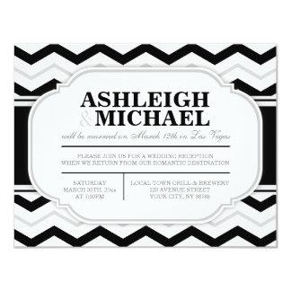 Grey & Black White Chevron Wedding Reception ONLY Card