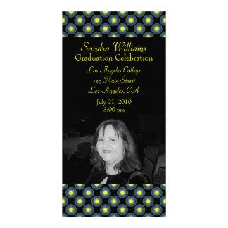 grey black yellow graduation photo greeting card
