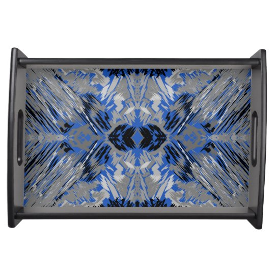 Grey & Blue Abstract Serving Platter