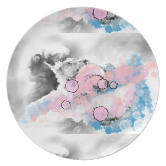 Grey, blue and pink dreamy Melamine Plate