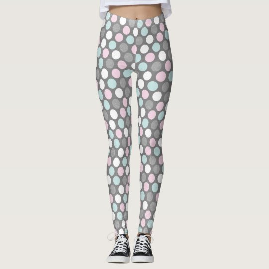 Grey Blue and Pink Polk Dot Leggings