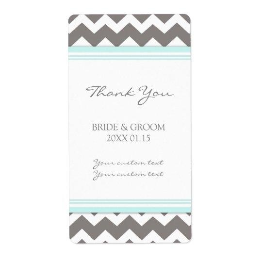 Grey Blue Chevron Wedding Labels
