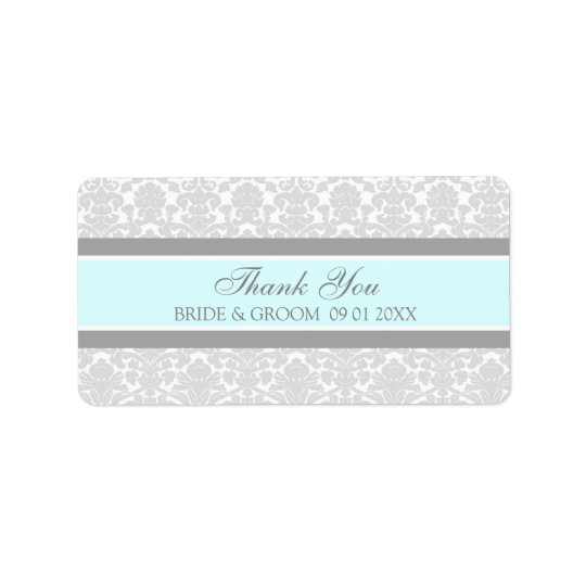 Grey Blue Damask Wedding Labels