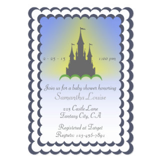 Grey Blue Dreamy Castle In The Clouds Baby Shower Card