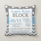 Grey Blue Elephant Baby Announcement Pillow