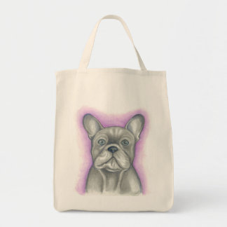 Grey/Blue French Bulldog grocery tote with purple
