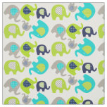 Grey Blue Green Elephants on White Fabric