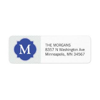 Grey & Blue Modern Chevron Custom Monogram
