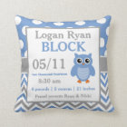 Grey Blue Owl Baby Announcement Pillow