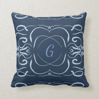 Grey/Blue Scroll Throw Pillow