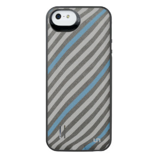 Grey Blue Tie Stripe