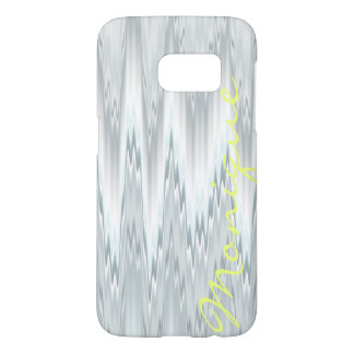 grey blurred zigzag personalized by name samsung galaxy s7 case
