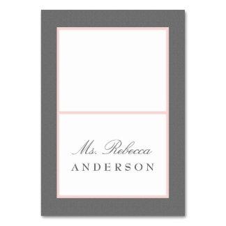 Grey & Blush Pink Elegant Wedding Place Card