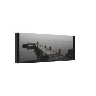 Grey boat dock on a rainy day. canvas print
