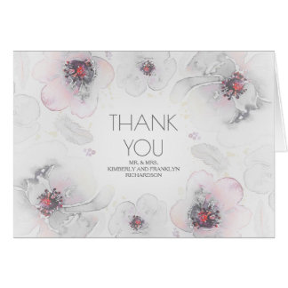 Grey Boho Watercolor Floral Wedding Thank You Card