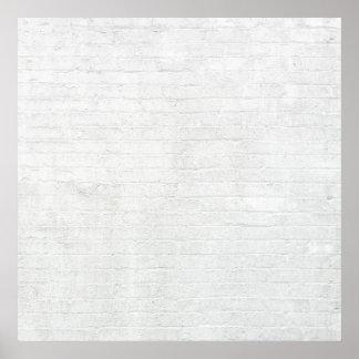 Grey Brick Wall White Bricks Background Texture Poster
