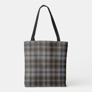 Grey Brown Black Tartan Plaid Tote Bag