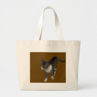 Grey Brown Cat Jumbo Tote Bag