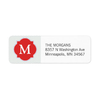 Grey & Brown Madder Modern Chevron Custom Monogram Return Address Label