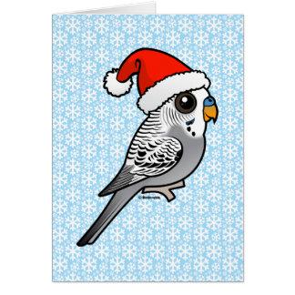 Grey Budgie Santa Claus Card