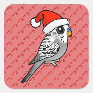 Grey Budgie Santa Claus Square Sticker
