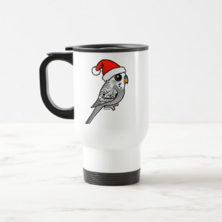 Grey Budgie Santa Claus Travel Mug