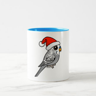 Grey Budgie Santa Claus Two-Tone Coffee Mug