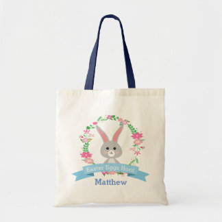 Grey Bunny and Floral Wreath Easter Eggs Hunt Tote Bag