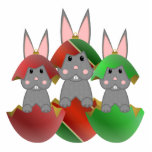 Grey Bunny In A Christmas Ornaments Cut Out