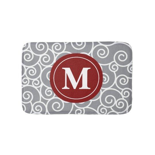 Grey burgundy Swirls Monogram Bathmat