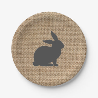 Grey Burlap Bunny // Easter Plates // Spring Plate 7 Inch Paper Plate