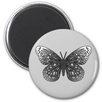 Grey Butterfly 2 Inch Round Magnet