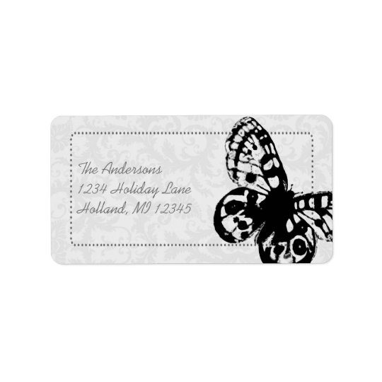 Grey Butterfly Damask Return Address Label