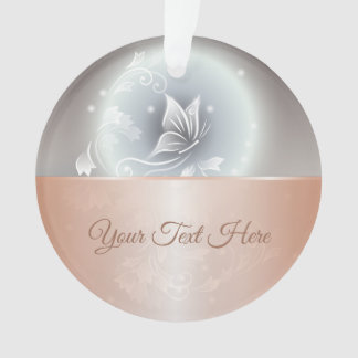 Grey Butterfly Floral Rose Gold Ornament