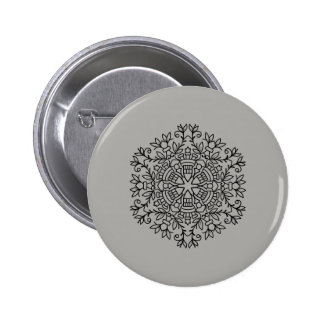 Grey button with mandala drawing