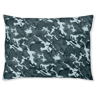 Grey Camo Large Dog Bed