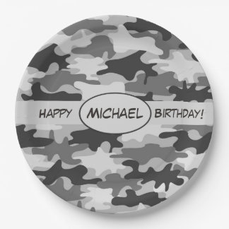 Grey Camouflage Happy Birthday Name Personalized 9 Inch Paper Plate