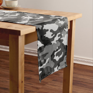 Grey Camouflage Pattern Short Table Runner