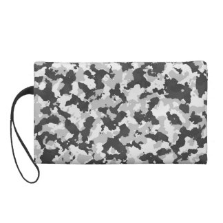 Grey Camouflage Wristlet Clutches
