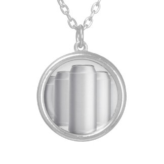 grey cans silver plated necklace