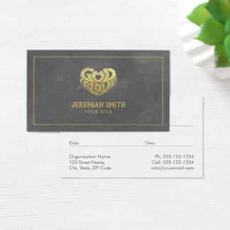 Grey Canvas God Is Love Christian Church Pastor Business Card