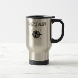 Grey Captain with Compass Rose 15 Oz Stainless Steel Travel Mug
