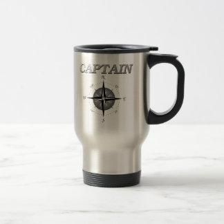 Grey Captain with Compass Rose Travel Mug