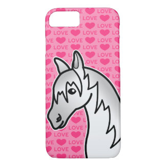 Grey Cartoon Horse Love Hearts iPhone 8/7 Case