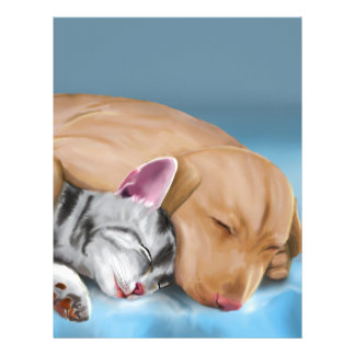 Grey Cat and Brown Dog Sleeping and Hugging Letterhead