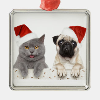 Grey cat and Chinese Pug Christmas Design Metal Ornament