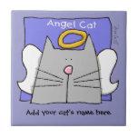 Grey Cat Angel Personalize Ceramic Tiles