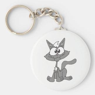 Grey Cat Basic Round Button Keychain